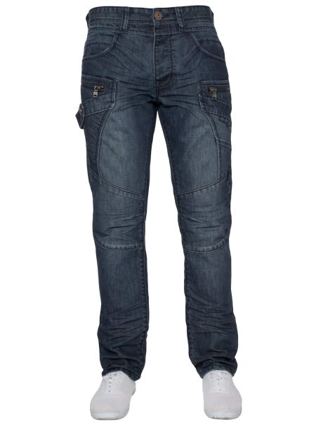 idenim Mens Funky Blue Stonewashed Casual Denim Regular Tapered Fit Jeans